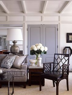 french grey doors and white beams lovely