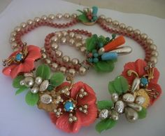 VTG Early Miriam Haskell Baroque Pearl Coral Necklace Bracelet Runway Set 1940s- fashion_trends1950 (seller) e-bay.com
