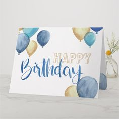 Shop Beautiful watercolor Happy Birthday design Card created by Cup_of_Art. Happy Birthday Cards Handmade, Creative Birthday Cards, Beautiful Birthday Cards, Homemade Birthday Cards, Birthday Cards For Friends, Bday Cards, Birthday Wishes, Happy Birthday Greeting Cards, Ideas For Birthday Cards