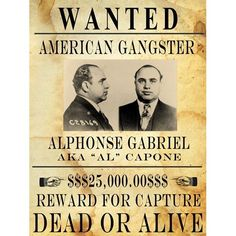 al capone wanted poster | Amazon.com: Al Capone Wanted Poster Art Poster PRINT Unknown 18x24 ...