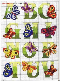 Cross Stitch: Free Butterfly Alphabet Chart (Part Cross Stitching, Cross Stitch Embroidery, Embroidery Patterns, Stitch Patterns, Loom Patterns, Counted Cross Stitch Kits, Cross Stitch Charts, Cross Stitch Designs, Butterfly Cross Stitch