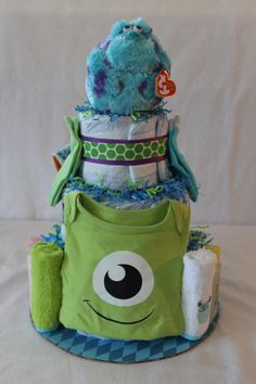 Monsters Inc Themed Diaper Cake by PetesMomMakesStuff on Etsy