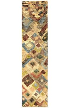 Abstract Runner - Kush - 300cm x 75cm (9-10ft x 2-6ft) from The Handmade Rug Company- This runner is woven by skilled artisan weavers and knotted using locally hand-spun wool. The beautiful variety of colours and shading is achieved by using natural vegetable dyes.