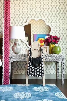 Taylor Borsari // bone inlay table with Phillip Jeffries Moroccan Wallpaper, Made Goods Fiona Mirror and  Madeline Weinrib Blue Mandala Rug