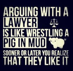 Arguing with a lawyer is like wrestling a pig in mud: sooner or later you realize that they like it.                                                                                                                                                                                 More