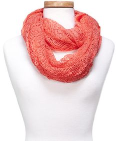 Loving this Coral Crocheted Infinity Scarf on #zulily! #zulilyfinds