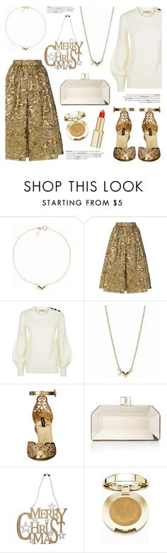 """""""Gold Metallics"""" by littlehjewelry ❤ liked on Polyvore featuring Prada, Burberry, Dolce&Gabbana, Judith Leiber, M&Co, Milani and L'Oréal Paris"""