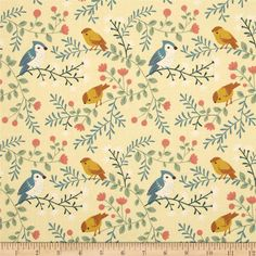 Acorn Trail Birds and Branches Cream from @fabricdotcom  Designed by Teagan White for Birch Fabrics, this GOTS certified organic cotton print fabric is perfect for quilting, apparel and home décor accents. Colors include cream, off white, tan, brown, mint, teal and coral.