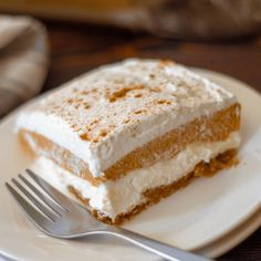 recipe for a Triple Layer Pumpkin Dessert is one that everyone will love! Take to to fall gatherings and no one will guess that it's actually keto friendly, gluten free and has no added sugar! Low Carb Sweets, Low Carb Desserts, Just Desserts, Low Carb Recipes, Snack Recipes, Dessert Recipes, Snacks, Fall Desserts, Healthy Desserts