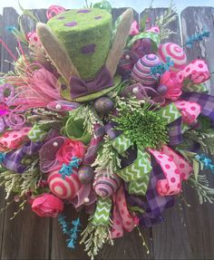 Easter Wreath Easter Decoration Easter Top Hat Raz by BaBamWreaths