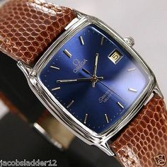 Omega Seamaster Quartz Mens Date Blue Dial Swiss Rare Antique Vintage Used Watch