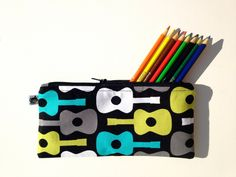 Guitar Pencil Case / READY To SHIP / Boys Groovy Guitars Pencil Bag / Michael Miller Lagoon. $15.00, via Etsy.