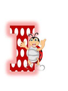 O alta varianta a literelor cu buburuze  Sper sa va bucurati de ele!                                                                       ... Ladybug Picnic, Smurfs, Collage, Lettering, Alphabet Letters, Lady Bug, Reptiles, Fonts, Gifs