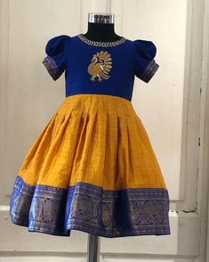 Children models girls dress patterns Ideas for 2019 Kids Indian Wear, Kids Ethnic Wear, Kids Dress Wear, Kids Gown, Kids Wear, Girls Frock Design, Baby Dress Design, Baby Frocks Designs, Kids Frocks Design