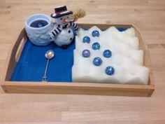 Spooning Sparkly Balls:  Montessori Fine Motor Winter (from Trillium Montessori)