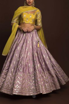 Dusky Orchid Gotawork Lehenga with Lime Indian Wedding Gowns, Indian Gowns Dresses, Indian Bridal Wear, Gown Wedding, Indian Attire, Indian Ethnic Wear, Indian Outfits, Ethnic Dress, Indian Clothes