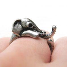 Miniature Elephant  Silver Ring