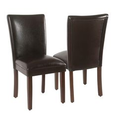 Complete your dining room decor with this stylish HomePop dining chair set. Parsons Dining Chairs, Upholstered Dining Chairs, Dining Chair Set, Dining Room, Chair Upholstery, Faux Leather Dining Chairs, Solid Wood Dining Chairs, Find Furniture, Dining Furniture