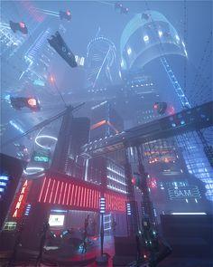 Cyberpunk urban city street environment landscape cityscape concept Art by Alex Calandri futuristic city