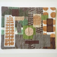 """One of my large (15x19"""") textile collages; this, and four others, will be available in my shop tomorrow. #hwy5show"""