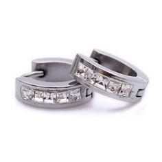 K Mega Jewelry Clear CZ Stone Silver Stainless Steel Stud Hoop Mens Earrings  http://electmejewellery.com/jewelry/mens-jewelry/mens-earrings/k-mega-jewelry-clear-cz-stone-silver-stainless-steel-stud-hoop-mens-earrings-com/