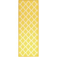 Ottomanson Pink Collection Yellow Moroccan Trellis Design Runner Rug (1'8 x 4'11) (PNK7021-20X59) (Nylon, Oriental)