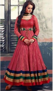 Red Georgette and Net Long Anarkali Stitched Churidar Suit Dupatta   FH459771804