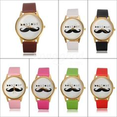 Unisex Leather Band Beard Mustache Moustache Quartz Wrist Watch - US$3.34