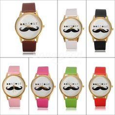 Unisex Leather Band Beard Mustache Moustache Quartz Wrist Watch - US$3.34