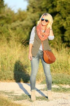 Striped Boat Neck Tee, Olive Military Vest, Plaid Infinity Scarf, Distressed Skinny Jeans, Cognac Bootie, Cross Body Bag