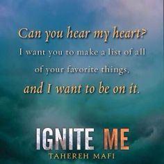 Ignite Me (Shatter Me #3) by Tahereh Mafi. Outstanding. One of my favorite series of all time.