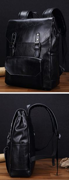Preppy Style Leather School Backpack Bag For College Simple Design Men Casual Daypacks mochila male New bagail.com
