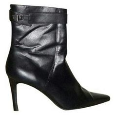"""NWOT Ralph Lauren Ankle boots 8.5 New Ralph Lauren stiletto ankle boots. Black leather, rubber sole. Heel is 3.5"""" inches. Side zipper. Black strap around top of boot with buckle. Pointed toe. 8.5. It's true to size. New, without box or tags. Ralph Lauren  Shoes Ankle Boots & Booties"""