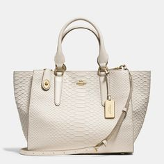 Women's fashion accessories: Coach purse Crosby Carryall In Python Embossed Leather