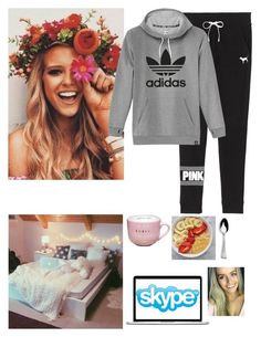"""""""Skyping Pippa - Madelyn"""" by celeb-families ❤ liked on Polyvore featuring Victoria's Secret, adidas, Microsoft and Mikasa"""