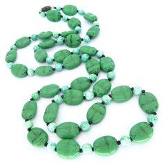 Vintage Art Deco Czech Neiger Fat Scarab Green Glass Bead Flapper Necklace | Clarice Jewellery | Vintage Costume Jewellery