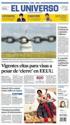 Portada de #DiarioELUNIVERSO de este miércoles 2 de octubre del 2013. Las noticias del día en: www.eluniverso.com