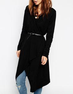 Image 3 ofASOS Longline Drape Cardigan In Knit With Belt