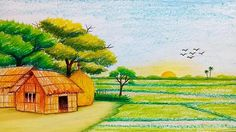 How to draw scenery of sunrise with pastel colour/sujola sufola Banglades Scenery Drawing Pencil, Easy Scenery Drawing, Landscape Pencil Drawings, Pencil Drawings Of Animals, Landscape Sketch, Art Drawings For Kids, Watercolor Landscape, Landscape Paintings, Pencil Art