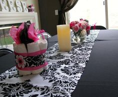 baby shower damask tables