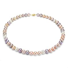 DaVonna 14k 10-11mm Multi-Pink Freshwater Cultured Pearl Strand Necklace
