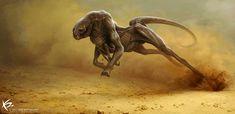Digital Illustration by Ken Barthelmey Concept Art Alien, Creature Concept Art, Creature Design, Alien Creatures, Mythical Creatures, Deadly Creatures, Fantasy Kunst, Fantasy Art, Fantasy Beasts