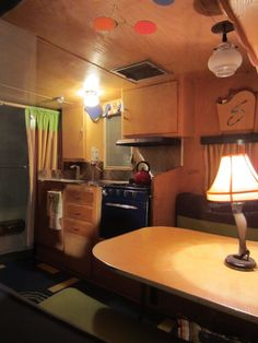 Interior of our guest house:  a 1958 Shasta Airflyte trailer.