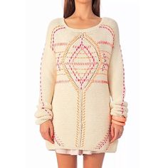 New ANTIK BATIK Sweater Tunic Beige Crochet Pullover Jumper Medium 8 10 Large 12 14 womens Sweaters. offers on top store Womens Cream Sweater, Pink Sweater, Antik Batik, Southern Girl Style, Jumper, Embroidery On Clothes, Loose Knit Sweaters, Layered Tops, Top Pattern