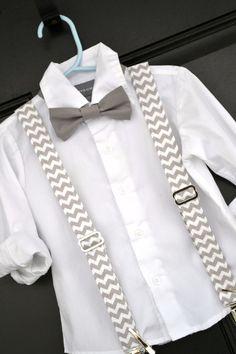Easter Spring Grey Chevron Bowtie & Suspender Set - Baby / Toddler / Child