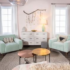 Pale pink and mint - pastels for an adult but fun and girly living room! Mr. Kate - Design Vs. Design – Room Makeover Competition!