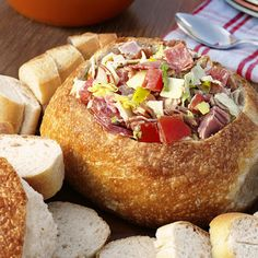 Hoagie Appetizer in a Bread Bowl...you  could also do this in roll size bowls as two bite appetizers...