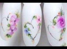 New ideas for Valentine s Day Nail art Valentine s Day Nail art Tutorial Spring Nail Art, Spring Nails, Summer Nails, Nail Manicure, Nail Polish, Water Color Nails, Nail Art Designs Videos, Floral Nail Art, Flower Nails