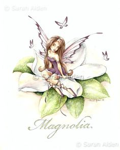 Magnolia Flower Fairy Art and Butterflies, whimisical by Sarah Alden