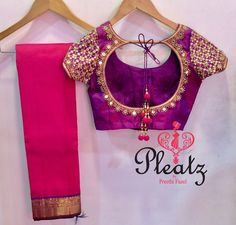 Love this grand mirror blouse for the simple pink silk beauty from Pleatz by Preethi Fazel! 28 May 2017 Pattu Saree Blouse Designs, Blouse Designs Silk, Designer Blouse Patterns, Bridal Blouse Designs, Blouse For Silk Saree, Silk Sarees, Designer Dresses, Aari Work Blouse, Dress Designs